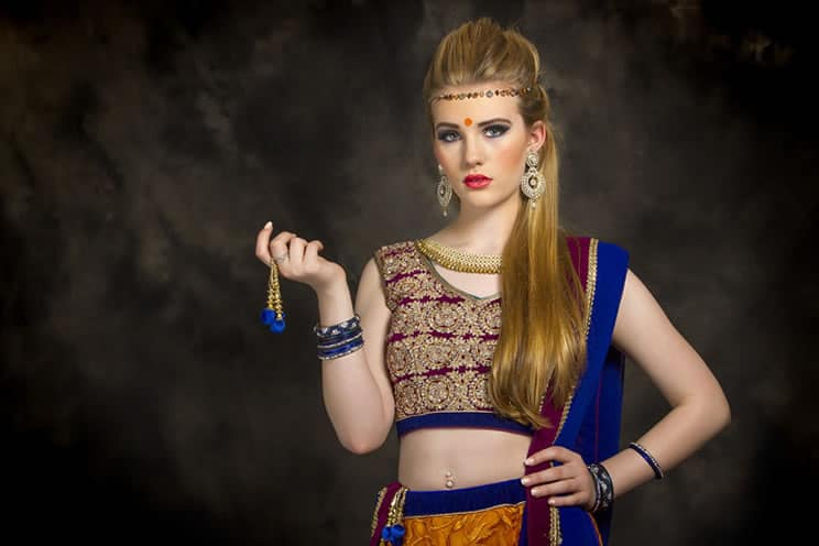white woman dressed in indian clothing
